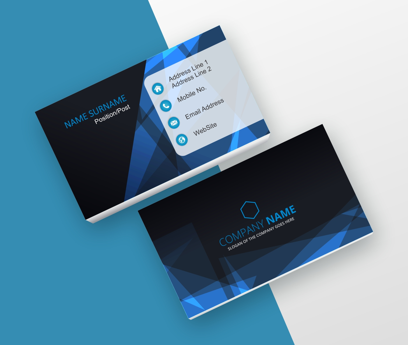 Computer, It blue and black business card